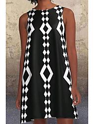 cheap -Women's A Line Dress Short Mini Dress White Black Brown Sleeveless Geometric Summer V Neck Hot Boho 2021 S M L XL XXL 3XL