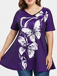 cheap -Women's Plus Size T-shirt Graphic V Neck Tops Loose Basic Top Blue Purple