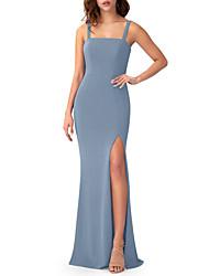 cheap -Sheath / Column Square Neck Floor Length Chiffon Bridesmaid Dress with Split Front
