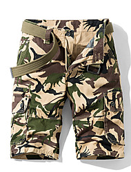 cheap -Men's Hiking Shorts Camo Outdoor Standard Fit Breathable Sweat-wicking Cotton Shorts Beach Traveling White Army Green Grey 30 32 34 36 38