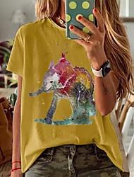halpa -Naisten Kuvitettu T-paita Pyöreä kaula-aukko Päivittäin Valkoinen Uima-allas Keltainen S M L XL 2XL 3XL