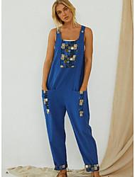 cheap -Women's Blue Gray Jumpsuit Color Block Cotton