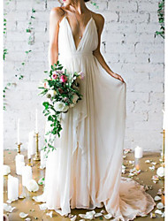 cheap -A-Line Wedding Dresses V Neck Spaghetti Strap Sweep / Brush Train Chiffon Sleeveless Simple Beach Backless with Cascading Ruffles 2021