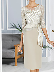 cheap -Sheath / Column Mother of the Bride Dress Elegant Illusion Neck Jewel Neck Knee Length Lace Satin Tulle 3/4 Length Sleeve with Beading Flower 2020