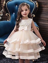 cheap -Princess / Ball Gown Knee Length Party / Wedding Flower Girl Dresses - Tulle Sleeveless Jewel Neck with Sash / Ribbon / Bow(s) / Tier