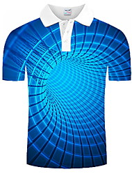 cheap -Men's Graphic optical illusion Polo Print Short Sleeve Daily Tops Blue