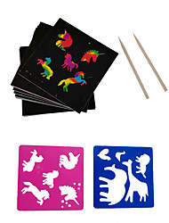 cheap -Drawing Toy Scratch Art Set Magic Scratch Paper Mini Cartoon Flower Animal Pure Paper Painting Creative Kid's Boys and Girls for Birthday Gifts or Party Favors