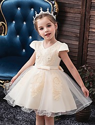 cheap -Princess / Ball Gown Knee Length Wedding / Party Flower Girl Dresses - Tulle Short Sleeve V Neck with Sash / Ribbon / Bow(s) / Appliques