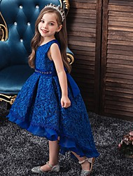 cheap -Princess / Ball Gown Floor Length Wedding / Party Flower Girl Dresses - Lace / Tulle Sleeveless Jewel Neck with Sash / Ribbon / Embroidery