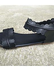 cheap -Women's Sandals Summer Flat Heel Peep Toe Daily PU Light Brown / Dark Brown / Black