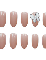 cheap -24pcs Butterfly Oval False Nails Gem Fake Nail Opaque 3D Rhinestones Wear UV Nails Manicure Acrylic Nail Pre-design Full Nail Tips