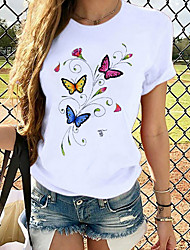 cheap -Women's T-shirt Butterfly Graphic Prints Round Neck Tops Loose 100% Cotton Basic Top White
