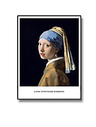 cheap -Vermeer Wall Art Canvas Painting Girl with Pearl Earrings Oil Painting Print Wall Poster Decoration Abstract Decorative Painting