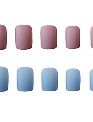 cheap -Nails 2020 24pcs False Nails Blue Matte Square Fake Nail Manicure Piece Summer Colors Full Nail Tips Artificial Nail Nails Art