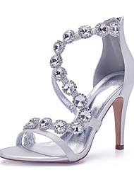 cheap -Women's Wedding Shoes Stiletto Heel Open Toe Sexy Minimalism Roman Shoes Wedding Party & Evening Satin Rhinestone Crystal Solid Colored Summer White Black Purple