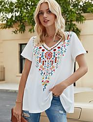 economico -Per donna Fantasia geometrica T-shirt A V Quotidiano Estate Bianco S M L XL 2XL