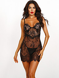 cheap -Women's Lace Backless Babydoll & Slips Suits Nightwear Solid Colored Embroidered Black M L XL