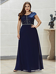cheap -A-Line Mother of the Bride Dress Elegant Sparkle & Shine Jewel Neck Floor Length Chiffon Short Sleeve with Crystals 2020