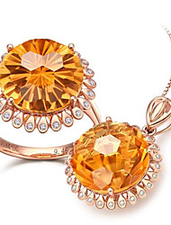 cheap -Women's Citrine Bridal Jewelry Sets Classic Flower Stylish Earrings Jewelry Yellow For Anniversary Party Evening 1 set