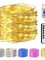 cheap -10M 100LED Copper Wire String Lights USB Plug-in Fairy Lights With Remote 8 Modes Lights Waterproof Remote Control Timer Christmas Wedding Birthday Family Party Room Valentine's Day Decoration