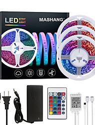 cheap -15M(3x5M) LED Strip Lights RGB Tiktok Lights 900LEDs Flexible Color Change SMD 2835 with 24 Keys IR Remote Controller and 100-240V Adapter for Home Bedroom Kitchen TV Back Lights DIY Deco