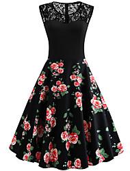 cheap -Women's A-Line Dress Midi Dress - Sleeveless Floral Summer Work 2020 Black Red Yellow XL XXL XXXL XXXXL
