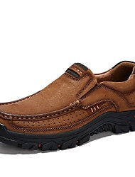 cheap -Men's Summer Outdoor Trainers / Athletic Shoes Hiking Shoes Cowhide Non-slipping Khaki / Brown