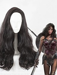 cheap -Cosplay Wig Diana Prince Curly Cosplay Halloween Asymmetrical Wig Long Black Synthetic Hair 25 inch Women's Anime Cosplay Fluffy Black