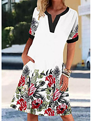 cheap -Women's Shift Dress Knee Length Dress White Short Sleeve Floral Print Summer V Neck Hot Casual 2021 S M L XL XXL 3XL