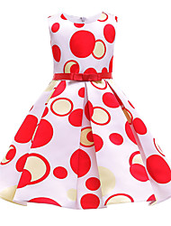 cheap -Kids Girls' Basic Sweet Polka Dot Cartoon Lace up Sleeveless Midi Dress Red