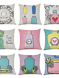 cheap -9 pcs Linen Pillow Cover, Make A Wish Bottle Love Casual Modern Square Traditional Classic