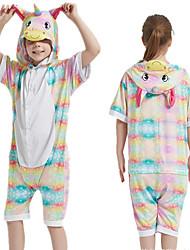 cheap -Kid's Kigurumi Pajamas Unicorn Onesie Pajamas Silk Fabric Rainbow Cosplay For Boys and Girls Animal Sleepwear Cartoon Festival / Holiday Costumes / Leotard / Onesie