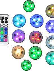 cheap -12pcs 10pcs Remote Controlled RGB Submersible Light Battery Operated Underwater Night Lamp Vase Bowl Outdoor Garden Wedding Party Decoration
