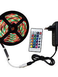 cheap -5m Light Sets RGB Strip Lights 300 LEDs 2835 SMD 8mm 1 24Keys Remote Controller 1 x 2A power adapter 1 set RGB Decorative 12 V 110-240 V