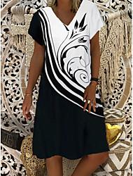 cheap -Women's Shift Dress Short Mini Dress - Short Sleeves Print Summer Casual Daily 2020 Black M L XL XXL XXXL