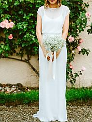 cheap -Sheath / Column Wedding Dresses Jewel Neck Floor Length Tulle Sequined Half Sleeve Beach Sexy with 2021