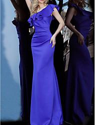cheap -Mermaid / Trumpet Elegant Reformation Amante Engagement Formal Evening Dress One Shoulder Sleeveless Floor Length Satin with Sleek 2020