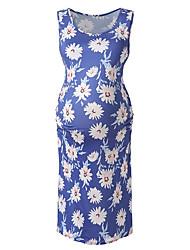 cheap -Women's T Shirt Dress Short Mini Dress - Sleeveless Floral Summer Casual 2020 Blue Red M L XL XXL