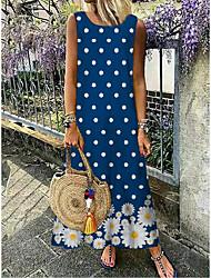 cheap -Women's A-Line Dress Maxi long Dress - Sleeveless Floral Print Summer Casual Daily 2020 Blue M L XL XXL XXXL