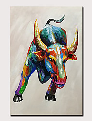 cheap -Mintura Original Hand Painted Buffalo Animal Oil Paintings on Canvas Modern Abstract Wall Picture Pop Art Posters For Home Decoration Ready To Hang
