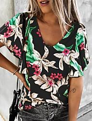 cheap -Women's Tops Floral T-shirt V Neck Daily Summer Black Purple Yellow Navy Blue S M L XL 2XL 3XL 4XL 5XL