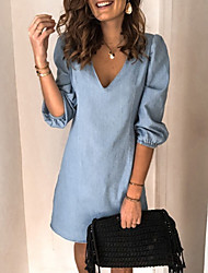 cheap -Women's Shift Dress Short Mini Dress Black Blue Light gray Light Blue Half Sleeve Summer V Neck Hot Casual Puff Sleeve 2021 S M L XL XXL 3XL
