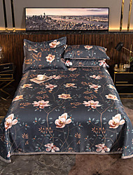 cheap -Summer Mat - 3-Piece Set / 1 Bed Sheet and 2 Pillowcases / Ultra Silky Soft Polyester / Luxury Modern Floral Printed