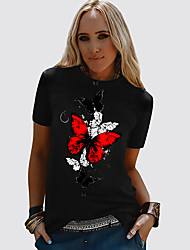 cheap -Women's T-shirt Butterfly Graphic Prints Round Neck Tops Loose 100% Cotton Basic Basic Top Black