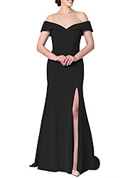 cheap -Sheath / Column Off Shoulder Court Train Satin Bridesmaid Dress with Ruffles / Split Front