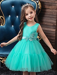 cheap -Princess / Ball Gown Knee Length Wedding / Party Flower Girl Dresses - Tulle Sleeveless Jewel Neck with Sash / Ribbon / Bow(s) / Appliques