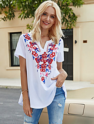 economico -Per donna Fantasia geometrica T-shirt A V Quotidiano Estate Vino Bianco S M L XL 2XL