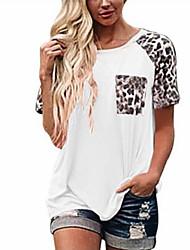 cheap -Women's T-shirt Leopard Cheetah Print Round Neck Tops Loose Basic Top White Black Red