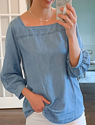 cheap -Women's T-shirt Solid Colored Off Shoulder Tops Basic Top Light Blue
