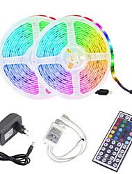 cheap -ZDM 2x5M Waterproof LED Light Strips Light Sets RGB Tiktok Lights 2*300 LEDs 2835 SMD 8mm 44Keys 1BIN2 IR Remote Controller Cuttable Self-adhesive Soft Light Strip DC12V